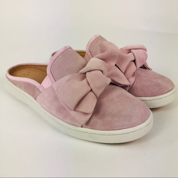 a9212dfe03a UGG Luci Bow Slip On Pink Suede Mules Women's 8 NWT